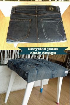 DIY Recycled jeans chair design #CraftsDIYSerendipity #crafts #diy #projects #tutorials Craft and DIY Projects and Tutorials