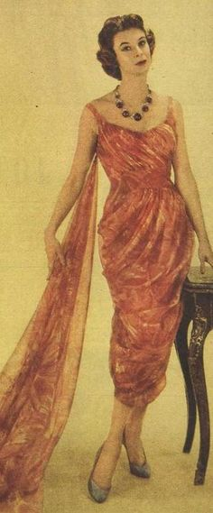 Orange and red nylon chiffon evening dress by London fashion house Lachasse, 1957