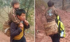 The devoted father who carries his son 18 MILES to school every day #DailyMail