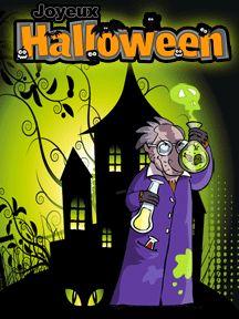 Une carte d'invitation avec l'image d'un professeur sorcier, à imprimer pour Halloween