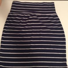 Blue and white striped skirt Barely worn. Minor pilling Loter Skirts Mini