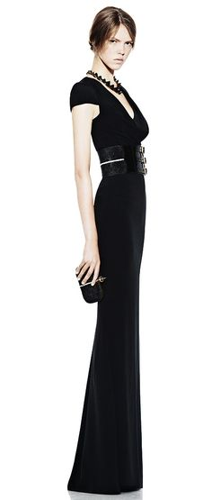 Alexander McQueen again! I would not have thought of adding a belt to this dress, but it looks great.