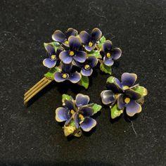 VINTAGE VIOLETS ENAMEL BROOCH PIN AND EARRINGS AUSTRIA FLOWER BOUTIQUE | eBay