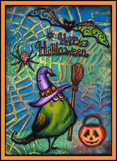 anjas-artefaktotum: Witch Elvira already practises for Halloween / Hexe Elvira übt schon mal für Halloween