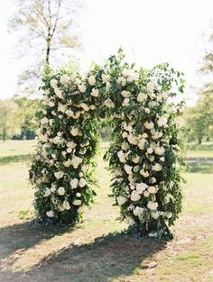 The Grandeur House Wedding with a Modern Farmhouse Style Winter Wedding Arch, Wedding Ceremony Arch, All White Wedding, White Wedding Flowers, Ceremony Backdrop, Floral Wedding, Elegant Wedding, White Flowers, Used Wedding Decor