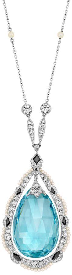 Edwardian aquamarine, diamond, pearl, and onyx necklace, circa 1915. Via Diamonds in the Library.