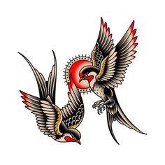 Old Tattoos, Body Art Tattoos, Tattoos For Guys, Sleeve Tattoos, Traditional Tattoo Bird, Traditional Tattoo Old School, Traditional Tattoo Stencils, Traditional Tattoo Flash Art, Traditional Flash