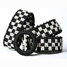 Macrame belt Black and White knotted bicolor macrame by makrame, $77.00