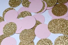 Pink and Gold Confetti Circles Blush and Gold by Littlebitslane