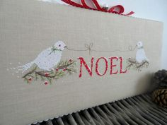 Noel cross stitch patterns by Une Croix le Temps d'un Thé at thecottageneedle.com of love birds dove hand embroidery woodland Christmas by thecottageneedle