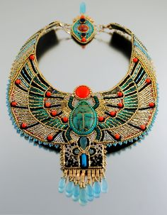 Magnificent Egyptian Scarab Necklace by Doro Soucy, LuxVivensFashion on Etsy. (sold)