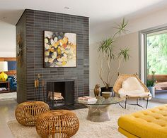 Mid Century Modern Living Room with Stone Accent Wall : Designers . Mid Century Modern Living Room A Mid - Century Modern Home Tour: The. Room Design, House Interior, Fireplace Design, Mid Century Living Room, Mid Century Modern Interior Design, Mid Century Ranch, Home, Home Decor, Living Room Modern