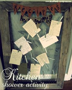 DIY rustic chic clip board - hold photos, kids drawing, or notes.  Original creator used as part of a kitchen shower for notes to the engaged couple.