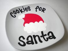 Cookies for Santa Handpainted Ceramic Christmas Plate. $12.95, via Etsy.