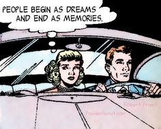 first date doubts couple in car retro vintage comic book pop art illustration