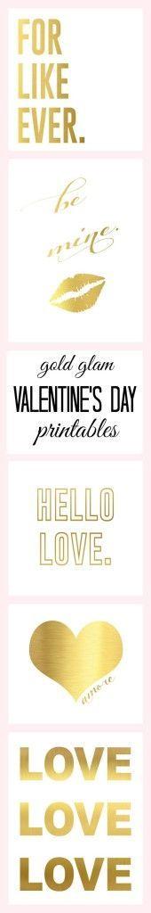 CUTEST!!! Gold Valentine's Day Printables   www.classyclutter.net