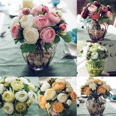 Beautiful 1x Heads Artificial Rose Flowers Silk Bouquet Bridal Wedding Living Room Decor Bouquet For Household Vase Decor DIY P0 #Affiliate