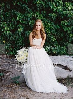 Ethereal Ivory Strapless Sweetheart Beach Wedding Dress