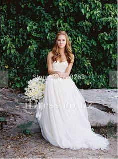 Ethereal Ivory Strapless Sweetheart Beach Wedding Dress