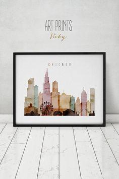 Chicago watercolor skyline print, watercolor poster, Wall art, Illinois  cityscape poster typography art digital watercolor ArtPrintsVicky.