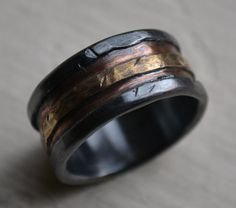 mens wedding band - rustic fine silver copper and brass - handmade artisan designed wide band ring - manly ring - customized on Etsy, $285.00