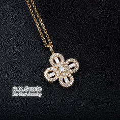Diamond Pave Lucky Clover Four Leaf Necklace in Solid Yellow/Rose/White Gold, Wedding Necklace, Irish Luck Shamrock, Quatrefoil Necklace Leaf Necklace, Pendant Necklace, Etsy Jewelry, Handmade Jewelry, Irish Luck, Conflict Free Diamonds, New Baby Gifts, Shopping Mall, Colored Diamonds