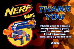Nerf Thank You Card