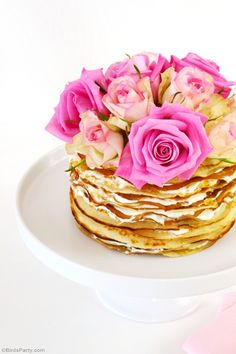 Learn to make this easy but impressive-looking crepe cake, perfect for Mother's Day, bridal showers, brunch or Spring party! - BirdsParty.com