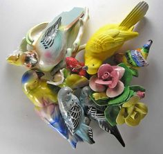 Birds and Capodimonte Flowers for Mosaic Mirrors