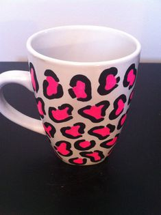 Pink leopard print coffee cup