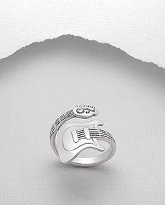 Guitar Bass Wrap around Ring Sterling Silver Music Band Size 8 #music #guitar #Band