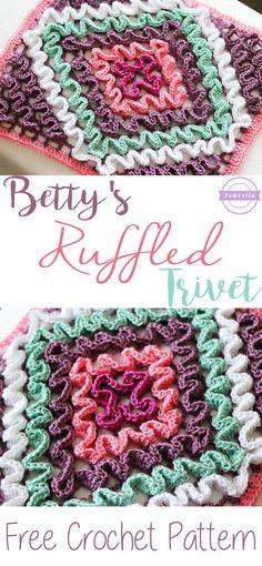Betty's Ruffled Trivet subir a tutoriales crochet Granny Square Crochet Pattern, Crochet Squares, Crochet Granny, Crochet Motif, Granny Squares, Crochet Geek, Crochet Afghans, Crochet Home, Love Crochet