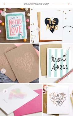 Seasonal Stationery: Valentine's Day, Part 2   1. Wednesday; 2. Paperfelt; 3. The Paper Cub; 4. Kate & Birdie; 5. Meant to Be Sent; 6. Bespoke Letterpress   Click through for full links and resources!