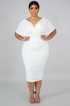 Ivory Dutchess Pearl Embellished Dress-TRUE TO SIZE,MODEL WEARING Polyester Spandex This ivory pearl embellished off shoulder v-neckline, elegant pleated touch on top, finished with a back zipper closure. White Plus Size Dresses, Plus Dresses, Plus Size Outfits, Halter Dresses, Elegant Dresses, Big Girl Fashion, Curvy Fashion, Plus Size Fashion, Ashley Graham