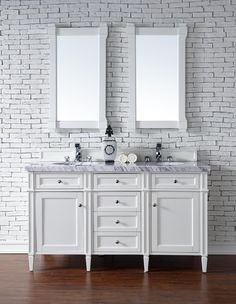 Contemporary 60 inch Double Sink Bathroom Vanity Cottage White Finish, http://www.listvanities.com/white-bathroom-vanities.html No Top features classic details with bridge both Traditional and Transitional styles. This beautiful piece of furniture includes one hide-away tip out, top row drawer plus two full-depth side drawers, one of which is double-height for storage of taller items.