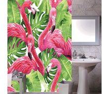 Κουρτίνα Μπάνιου Ροζ Φλαμίνγκο 180x180