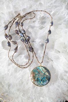 BARDOT chrysocolla teardrop handcrochet necklace