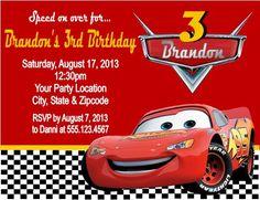 Cars Invitation Cars Lightning McQueen Invitation Cars Birthday