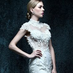 ZXB24 Mermaid High Neck Backless Beaded Floor length Lace Wedding Dress 2015