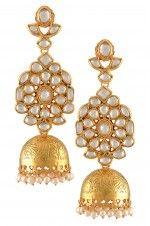 Tribebyamrapali-Silver Gold Plated Floral Crystal Jhumki Earrings