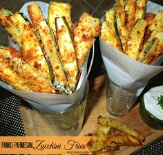 Panko-Parmesan Crusted Zucchini Fries - Oh, the bounty of Summer...sigh...it's…
