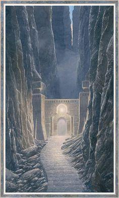 Doors of Gondolin by Alan Lee Fantasy Castle, Fantasy Rpg, Fantasy World, Hobbit Door, O Hobbit, Middle Earth Books, Alan Lee, Tolkien Books, Fantasy Places