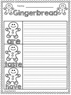 Here are a couple of gingerbread themed pages.  3 pages for writing and 3 pages for practicing some blends! Enjoy!