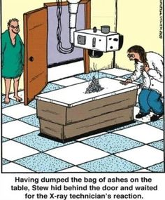 A little x-ray humor. This would be so funny. Cartoon Jokes, Funny Cartoons, Funny Comics, Science Cartoons, Radiology Humor, Medical Humor, Nurse Humor, Funny Medical, Ingenieur Humor