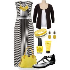 Black, White, and Yellow - Maxi Dress - Plus Size, created by kerimcd on Polyvore