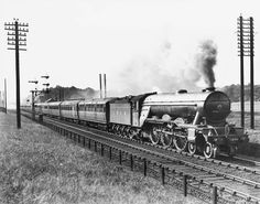 'Robert the Devil' steam locomotive, c 1930., Wethersett, E R..Robert the Devil' steam locomotive, c 1930.  Wethersett, E R © National Railway Museum / Science & Society Picture Library -- All rights reserved Description 'Robert the Devil', LNER Clas A1 4-6-2 engine No. 4479. The down Flying Scotsman, pasing Greenwood signal box near Hadley Wood.   Artist Wethersett, E R   Image Ref. 10307175..feb16