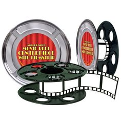 The Holiday Aisle Awards Night Movie Reel with Filmstrip Centerpiece (Set of 2)