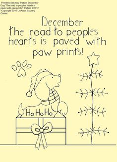 Primitive Stitchery E-motif, chien décembre « les cœurs des peuples est pavé avec empreintes de pattes !