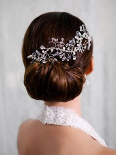 Crystal, Pearl Bridal Hair Vine, Crystal and Pearl Headpiece, Crystal Floral Branch Accessory, Bridal Hair Comb, STYLE 217 - Silver or Gold on Etsy, $170.00