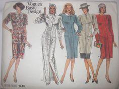 Vogue's Basic Design 1743 Women's 80s Dress, Tunic, Top & Skirt Sewing Pattern Size 10 Bust 32 1/2